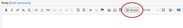 Screenshot of 'Source' Button on Drupal Content Editor Toolbar