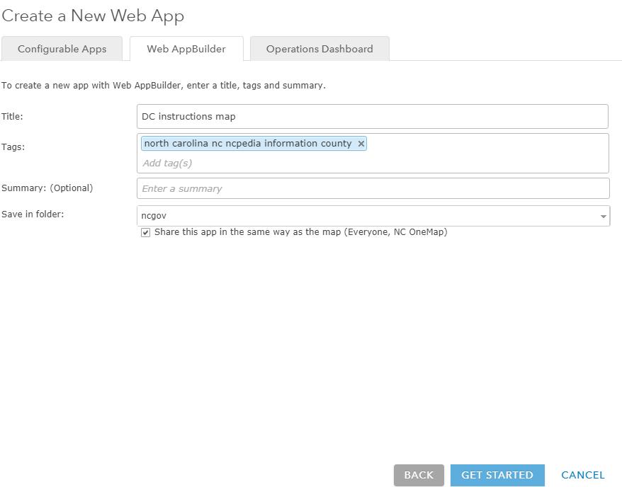 Screenshot of 'Create New Web App' Screen
