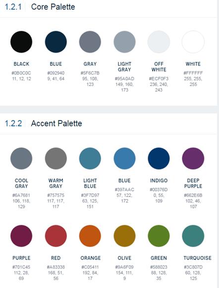 Colors in Digital Commons Color Palette
