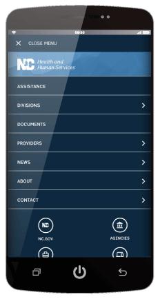 Example of Digital Commons Website Mobile Menu