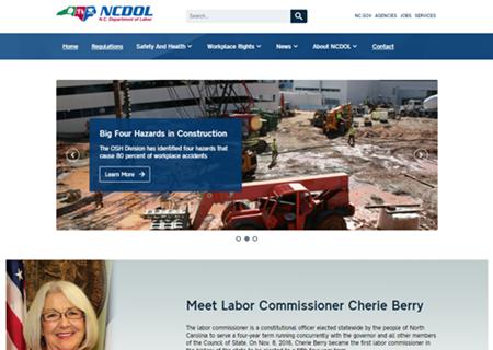 Screen Capture of Desktop View of N.C. Department of Labor Website