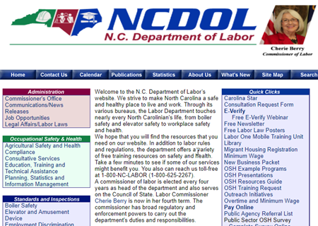 Screen Capture of Old N.C. Department of Labor Website