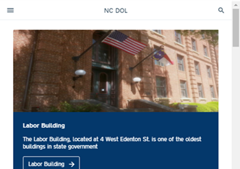 Screen Capture of Mobile View of N.C. Department of Labor Website