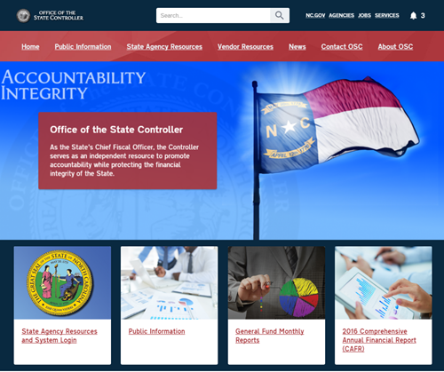 Screen Capture of Desktop View of Office of State Controller Website