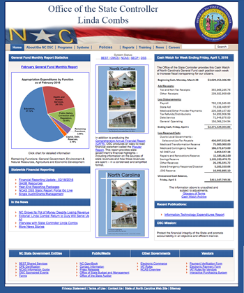 Screen Capture of Old Office of State Controller Website