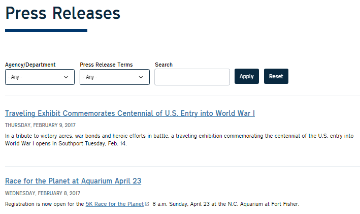 Example of Digital Commons Press Release View