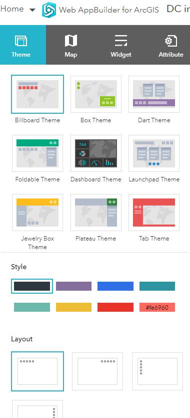 Screenshot of Esri Web Appbuilder Theme Options