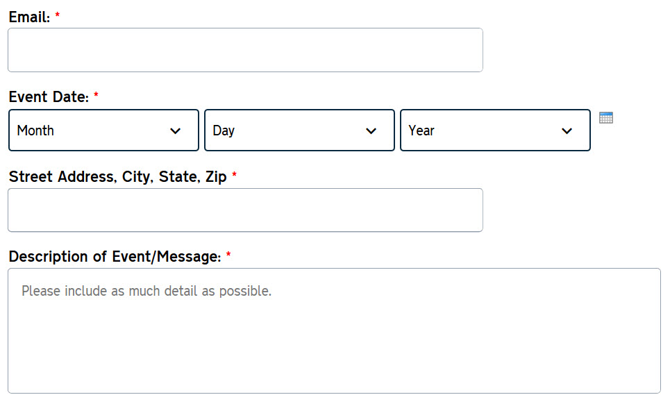 Example of Digital Commons Web Form