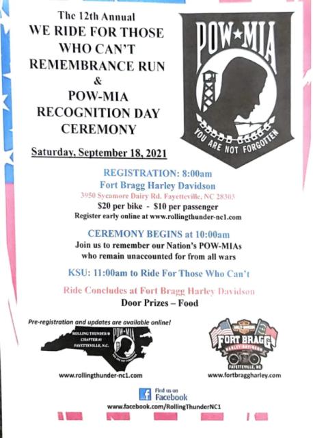 POW-MIA Remembrance Run & Recognition Day Ceremony