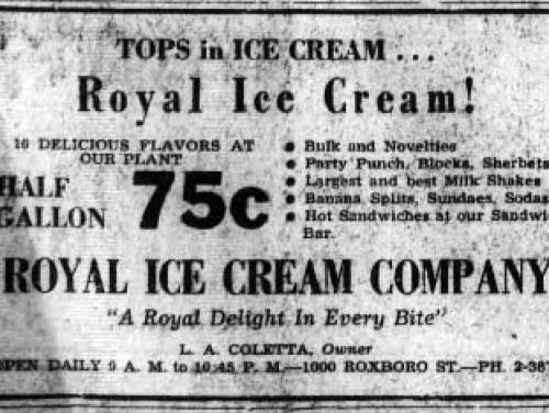 Royal Ice Cream newspaper advertisement