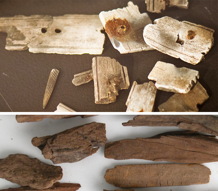 Can you tell if these images are bone, wood, shell, or rock?