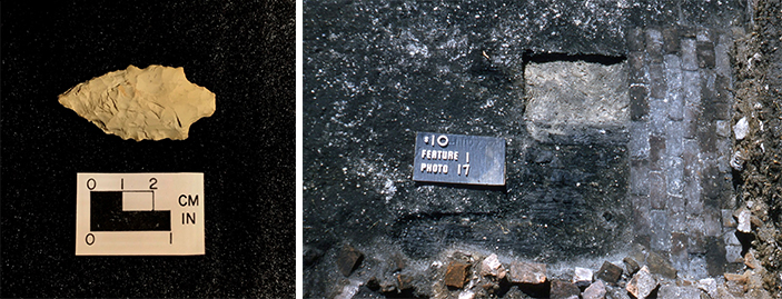 The Savannah River projectile point on the left is an artifact from Lumber River State Park. The lined-up bricks on the right are a feature uncovered at Brunswick Town State Historic Site.