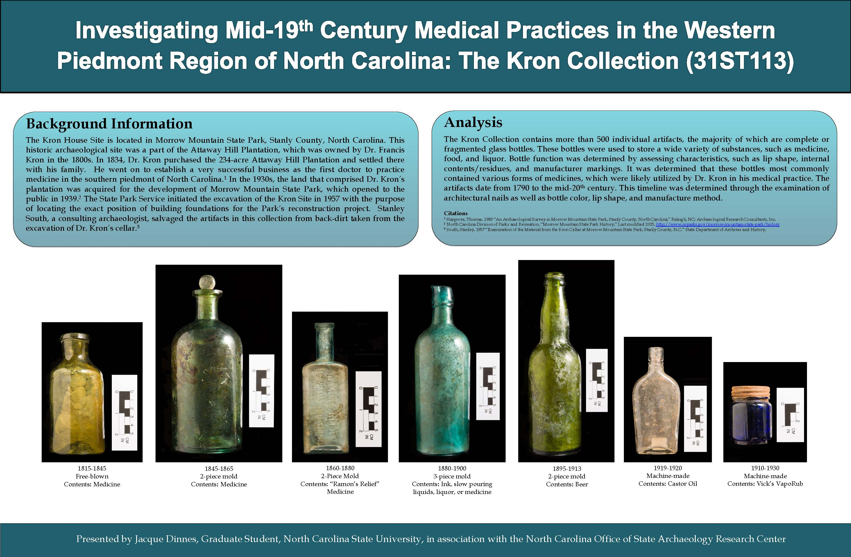 Poster showing artifacts (bottles) from Kron House and results