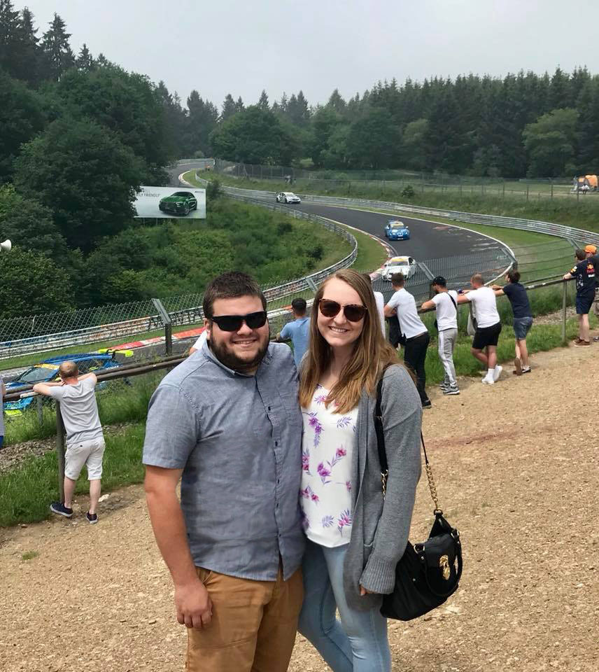 Kim and boyfriend Nick at a race track in Nürburg, Germany