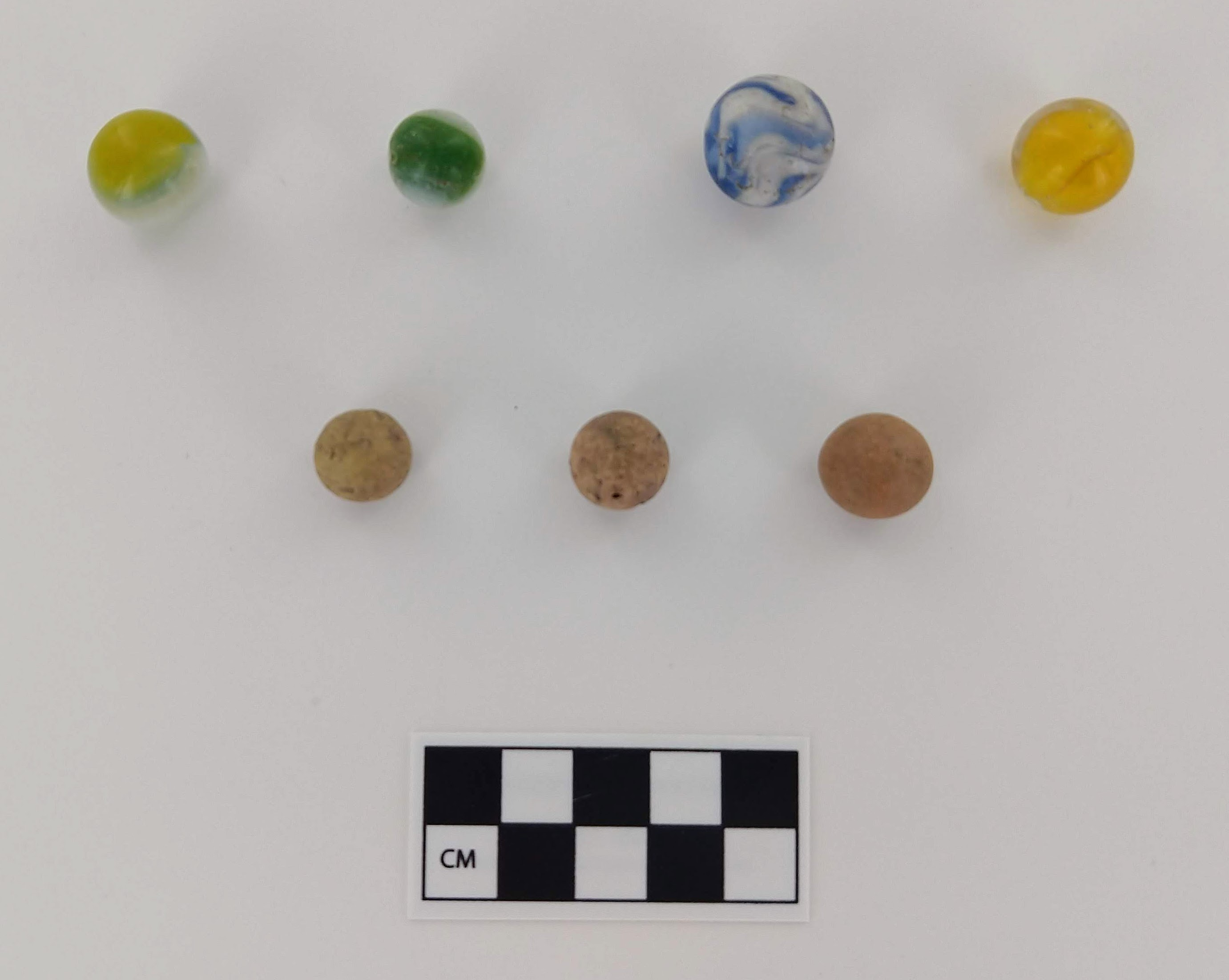 Clay and glass marbles recovered during the Turner House excavations.