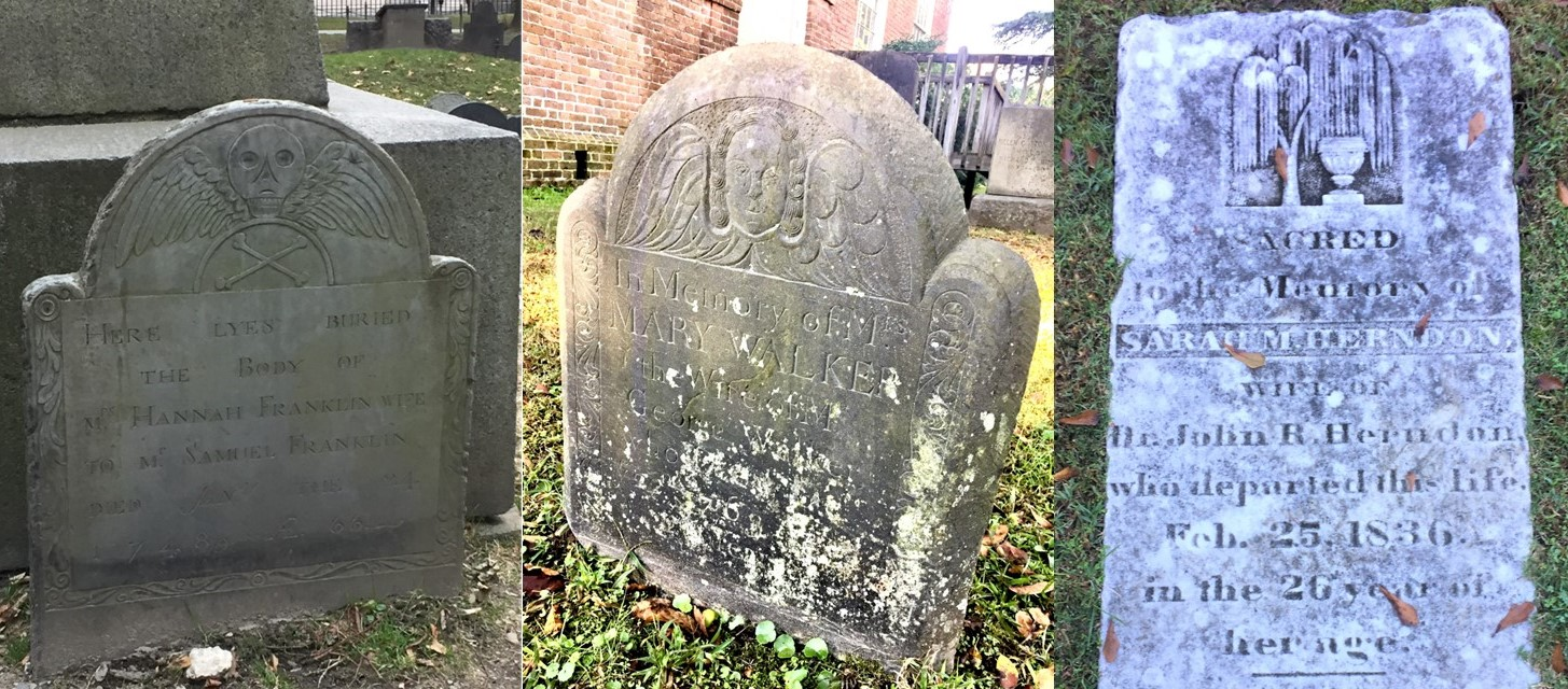 (L to R) Death's head motif (Granary Burying Ground, Boston, MA), Cherub motif (St. Paul's Episcopal Church Cemetery, Edenton, NC), and Urn and Willow motif (St. Paul's Episcopal Church Cemetery, Edenton, NC).