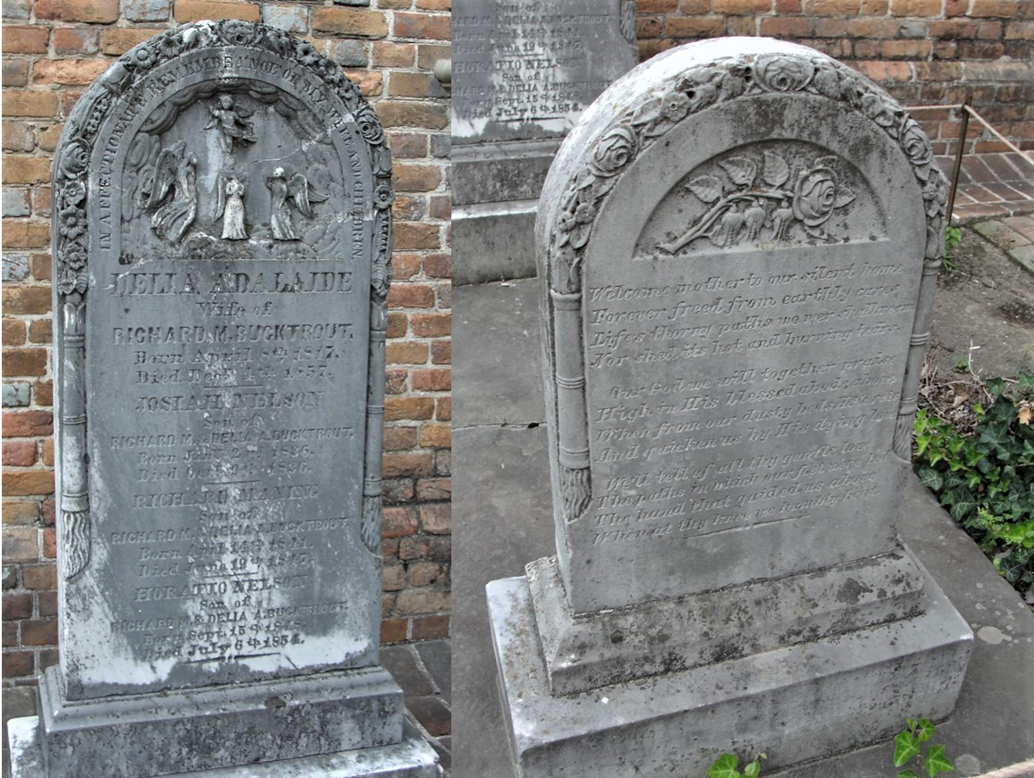 The headstone (Left) and footstone (Right) of Delia Adelaide Higgins Bucktrout and her three young sons (Josiah, Richard, and Horatio) is heavy with symbolic motifs including: roses (unfailing love), three rosebuds on the footstone for the three little boys lost, poppies (eternal and peaceful rest), anemones (transience of life), lily of the valley (purity and humility), lilies (innocence, purity, resurrection), four angels ascending to heaven, and four upturned torches signifying life snuffed out. (Bruton Parish Episcopal Church Cemetery, Williamsburg, VA)