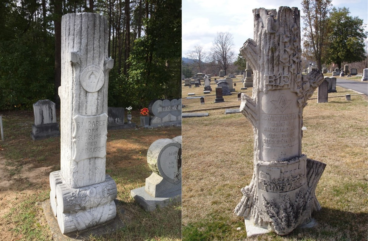 (L to R) Woodmen of the World marker (Abees Grove Baptist Church Cemetery, Valdese, NC), Stump marker with Masonic and Brotherhood of Locomotive Engineers motifs (Oakdale Cemetery, Hendersonville, NC)