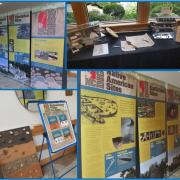 A collage of archaeological traveling exhibit displays at Yates Mill