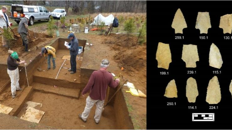 Archaeologists excavate a site in Yancey County