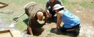 Archaeologists excate a test unit at Bentonville Battlefield in Four Oaks