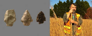 Right photo: Shane Petersen, archaeologist with shovel in a field. Left: projectile points