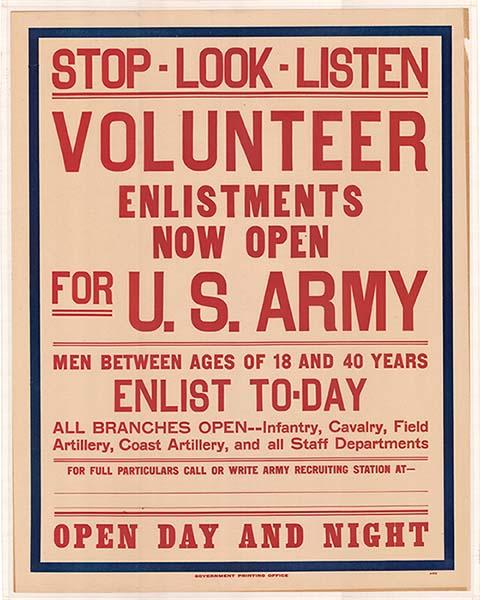 """""""Stop--Look--Listen--Volunteer"""" World War I Poster"""