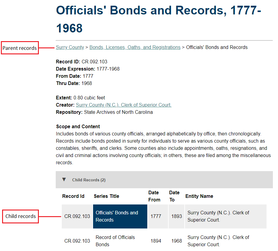 Screenshot of Surry county catalog entry, indicating which section contains the parent records and which contains the child records.