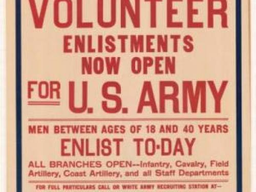 World War I Poster reading 'Stop--Look--Listen--Volunteer'