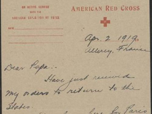 World War I letter from Walter Clark, April to June, 1919