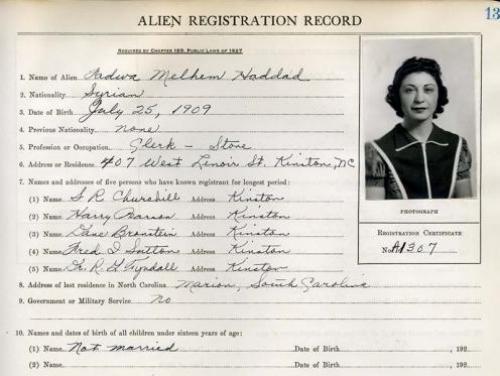 Lenoir County Alien Registration Record for Fadwa Melhem Haddad