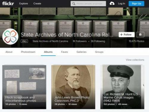 Screenshot of the State Archives Flickr page