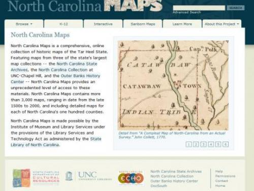 Screenshot from North Carolina Maps