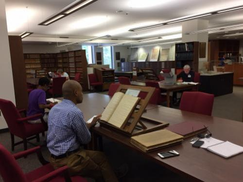 Photo of researchers doing research in the Search Room of the State Archives of North Carolina