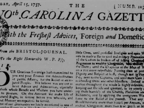 Header of the North Carolina Gazette from April 15, 1757