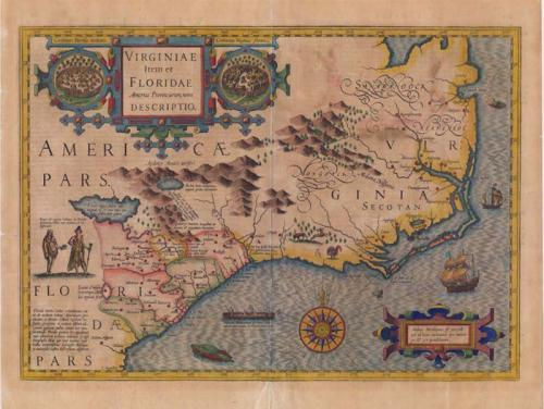 """Virginiae Item et Floridae, Americae Provinciarum, nova Descriptio. Hand-colored print of a map. This map was based on the 1590 White and 1591 Le Moyne maps. It was drawn by Jodocus Hondius and published by him in an edition of Gerard Mercator's """"Atlas...auctus ac illustratus a Iudoco Hondio."""" Amsterdami, 1606, No. 143."""