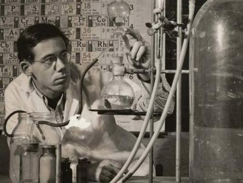Will Hamlin (BMC student) in the Chemistry lab, Black Mountain College