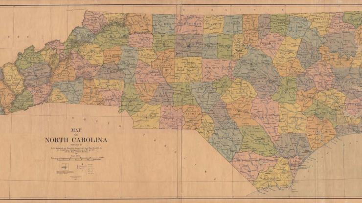 A 1923 map of North Carolina