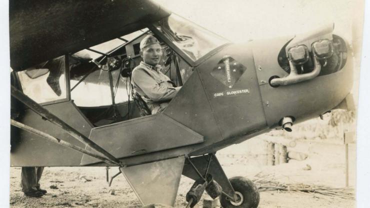 Photo of Richard M. Hunt in an airplane (MMP.1.B10.F1.3A)