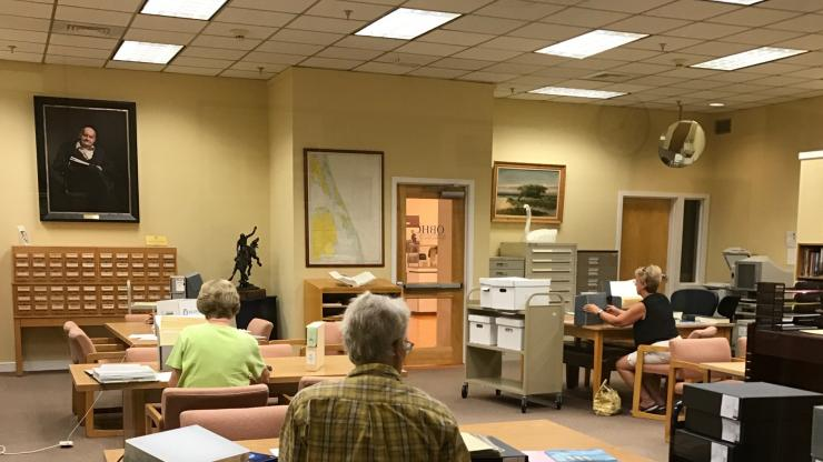 The reference room at the Outer Banks History Center