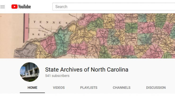 Screenshot of the YouTube account for the State Archives of North Carolina