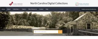 Screenshot of the homepage of the North Carolina Digital Collections