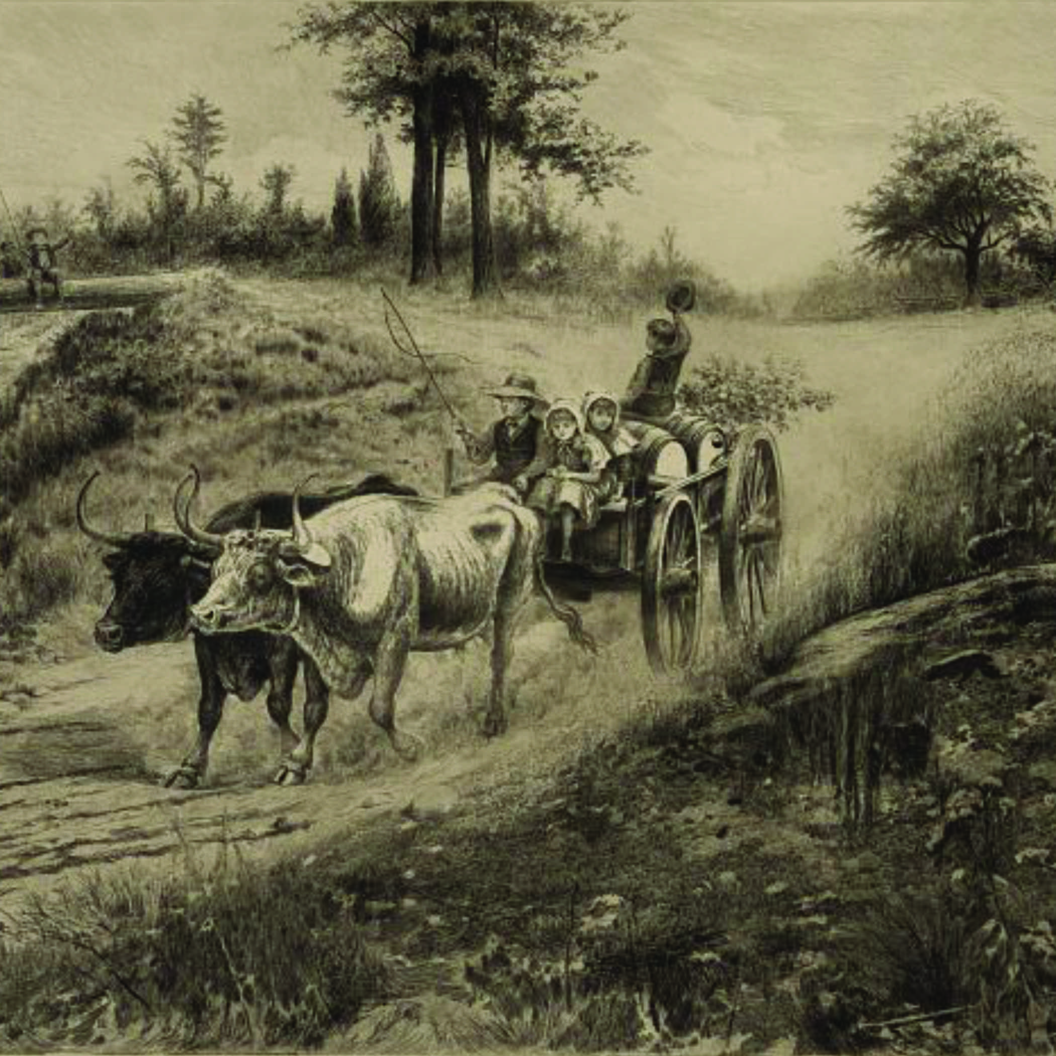 antique drawing of a family riding in a wagon drawn by two oxen
