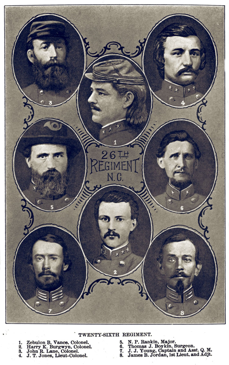 Vance and his fellow officers of the North Carolina 26th Regiment