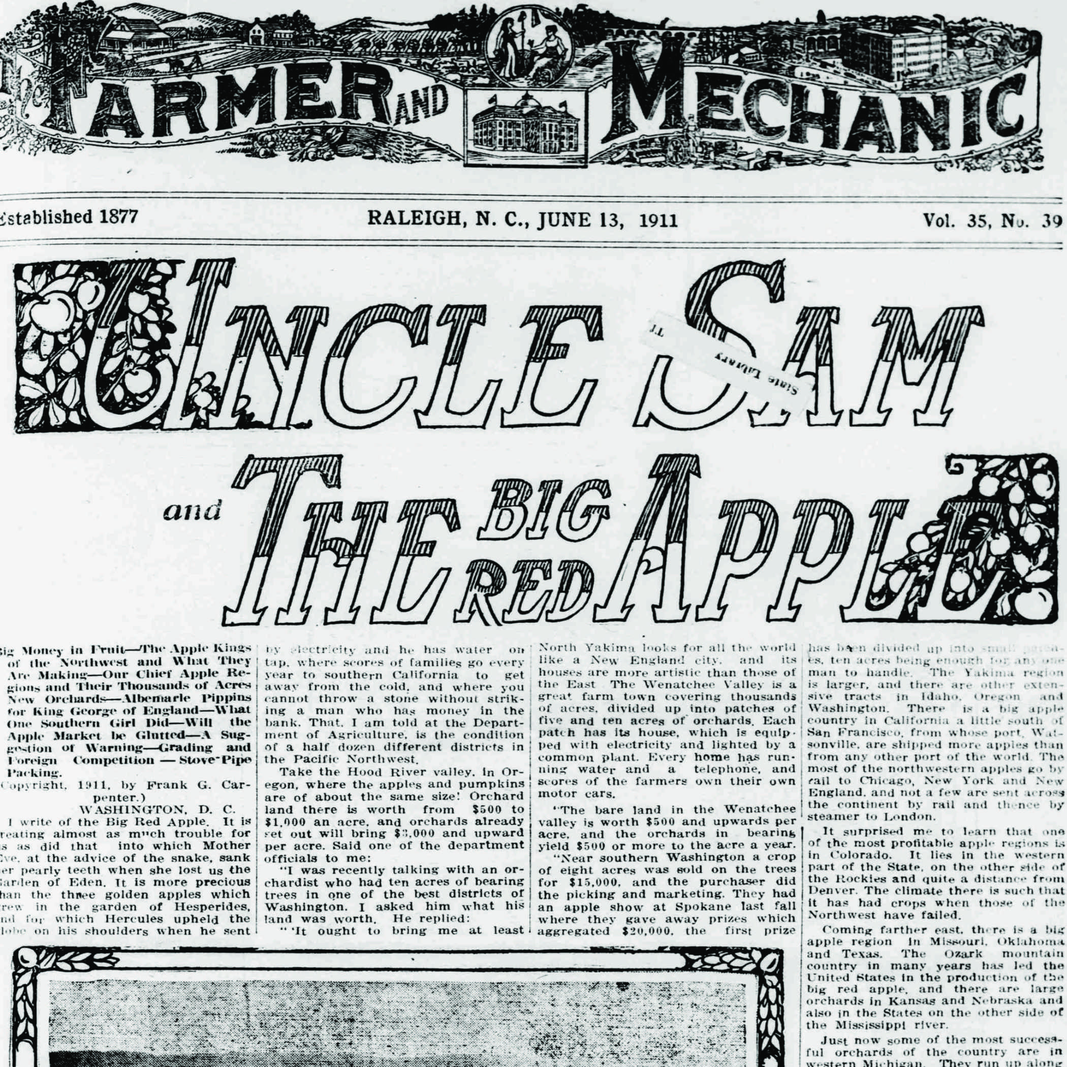 front page of the June 13 1911 edition of the Farmer and Mechanic newspaper