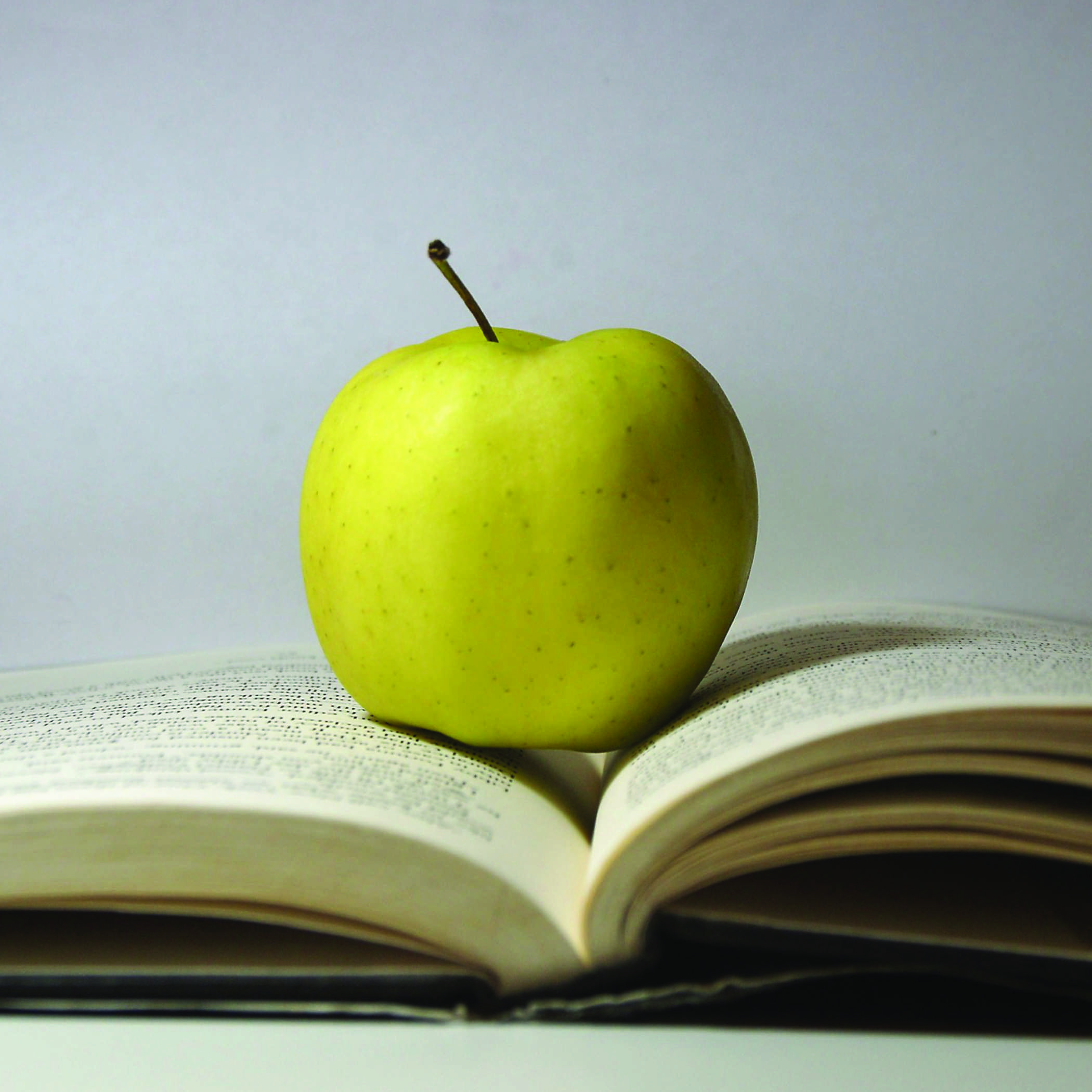 a yellow apple sitting atop an open book