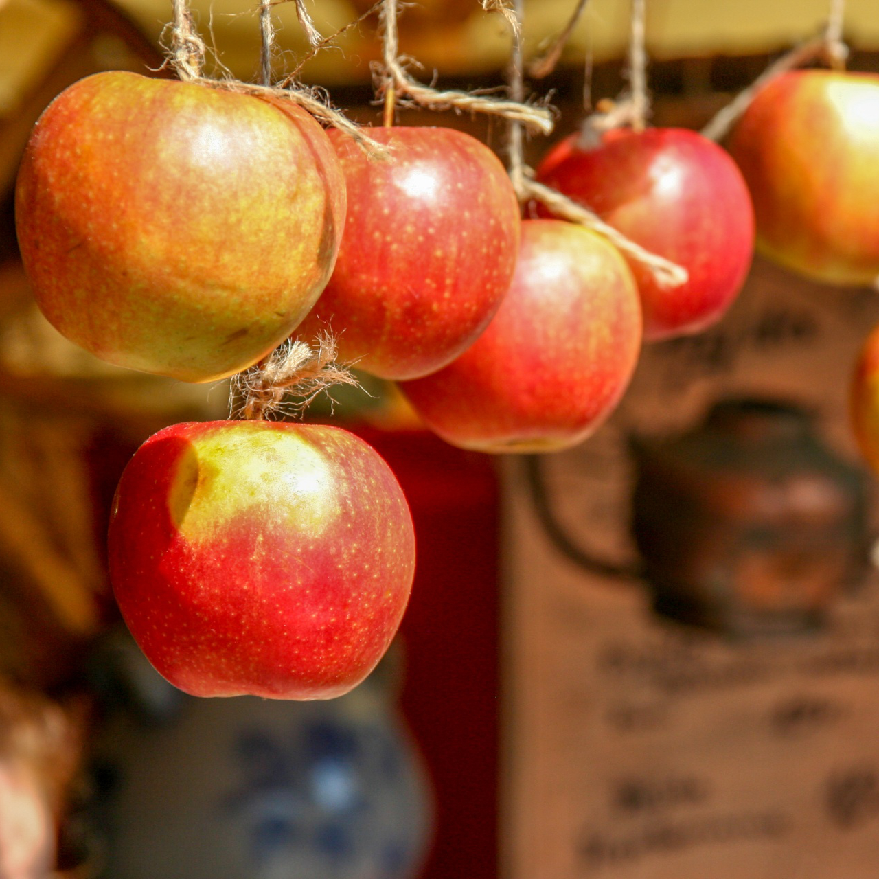 a row of apples hanging by strings