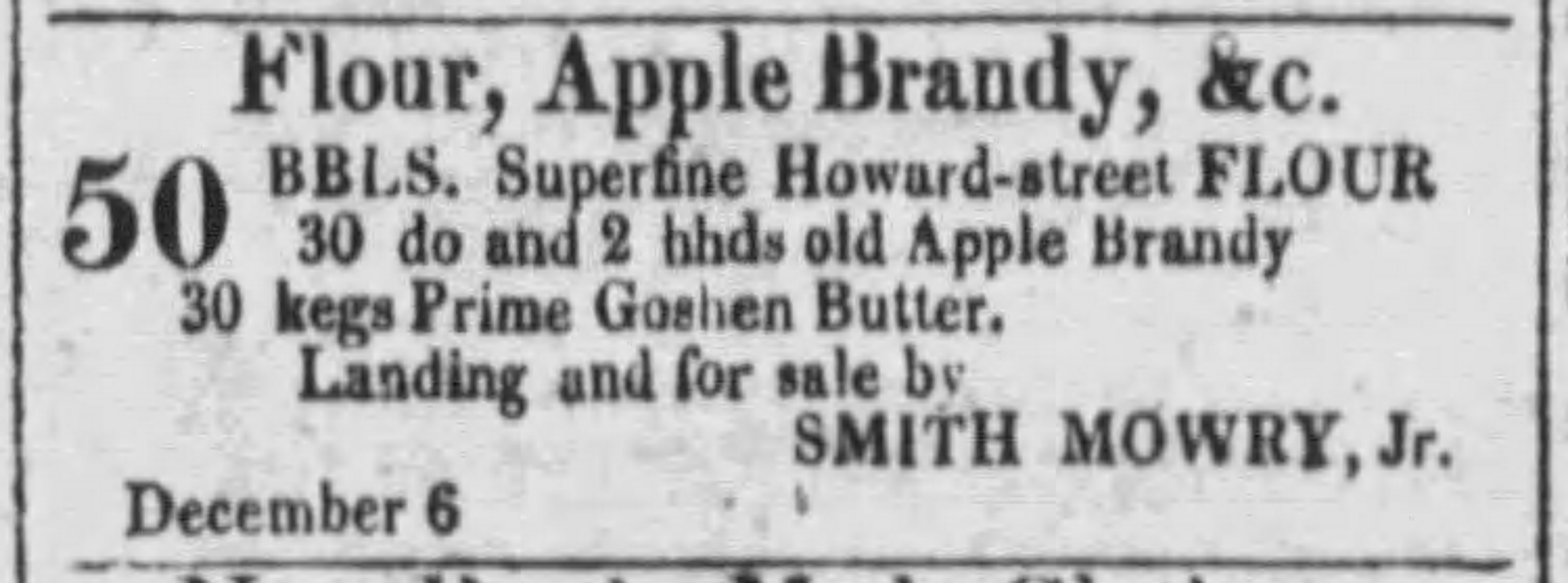 antique advertisement from a general store listing apple brandy as being in stock