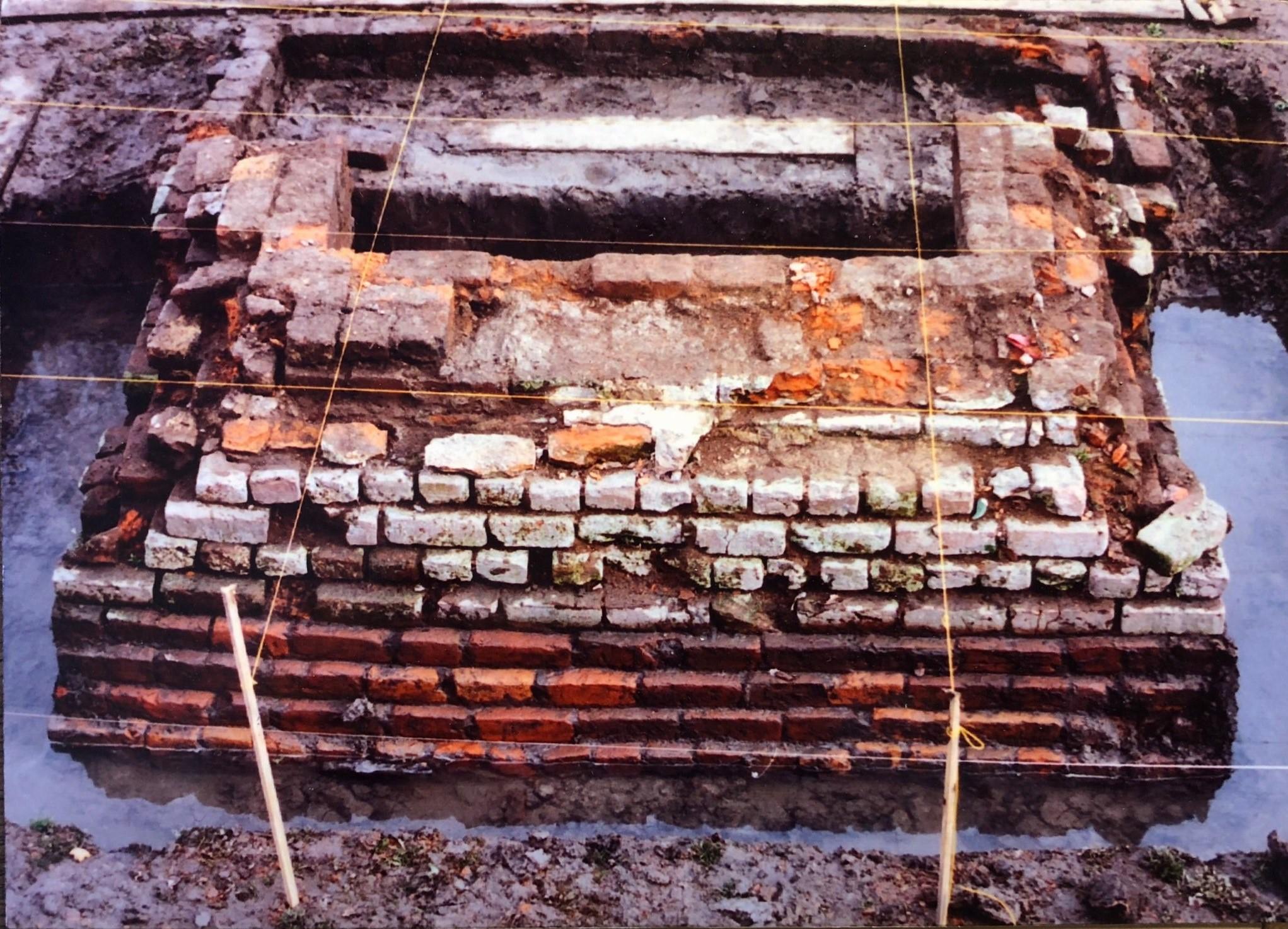 exposed base of hospital north chimney