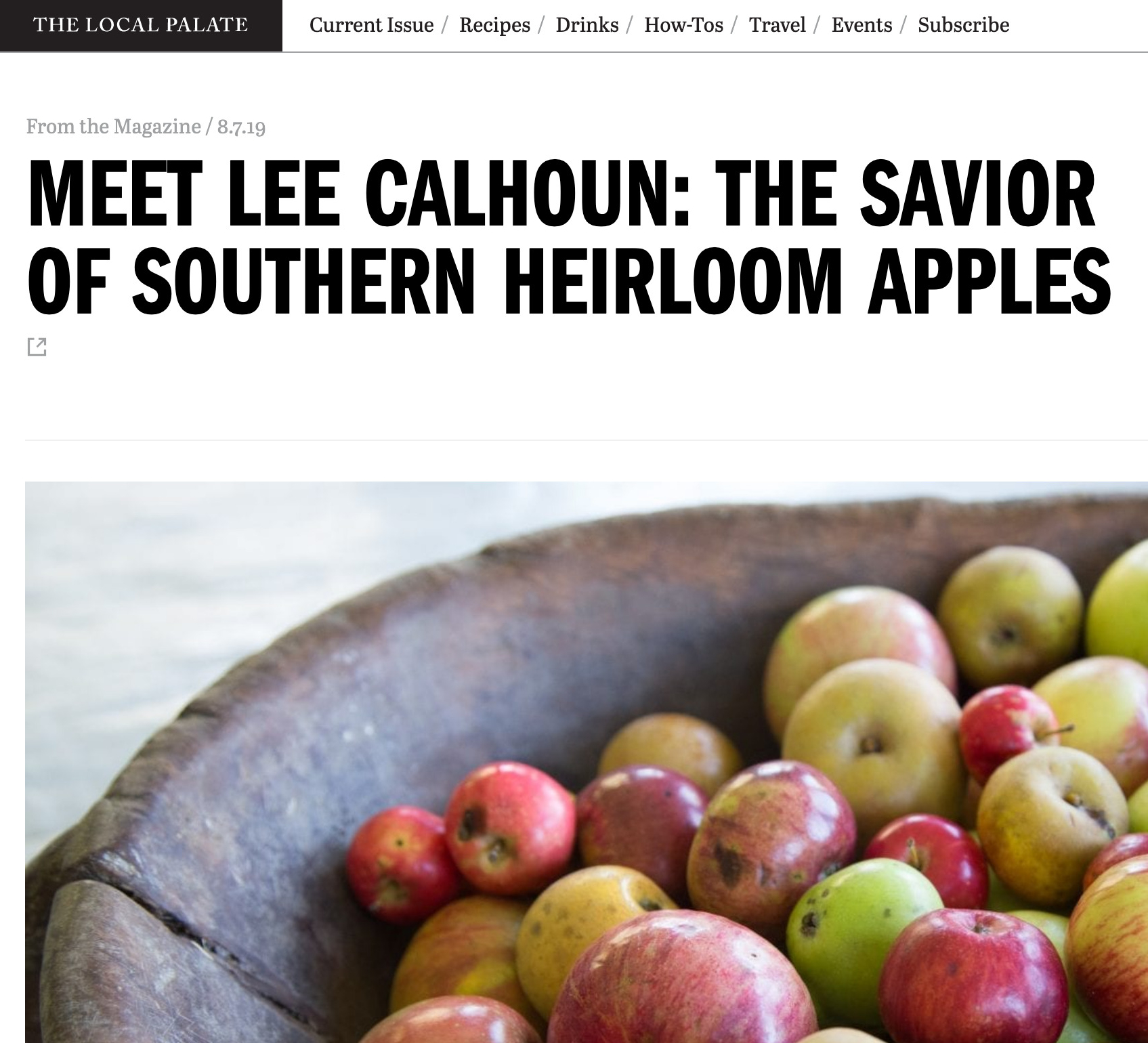 screen shot of the article on The Local Palate webpage